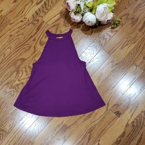 So High Neck Keyhole Back Purple Medium Tank Top